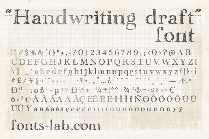 Preview And Download Handwriting Draft Fontscafe Free For Personal Use Fancy Grid Font