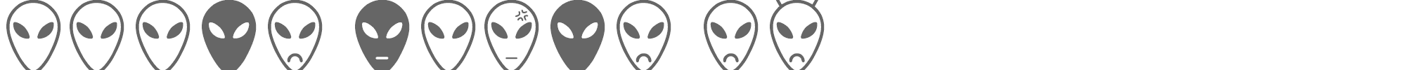 Sample characters Alien Faces ST Font