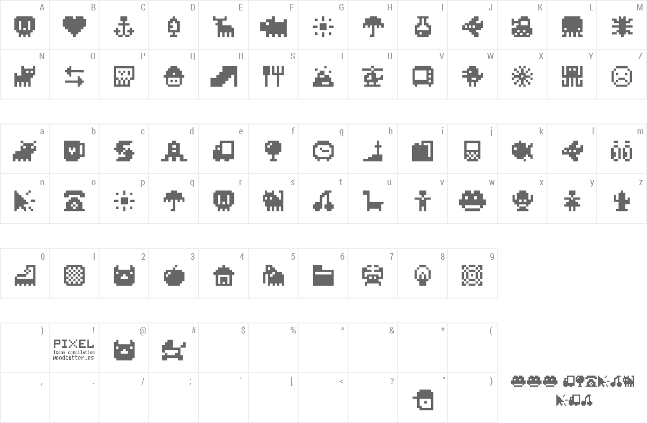 Font Pixel Icons Compilation preview